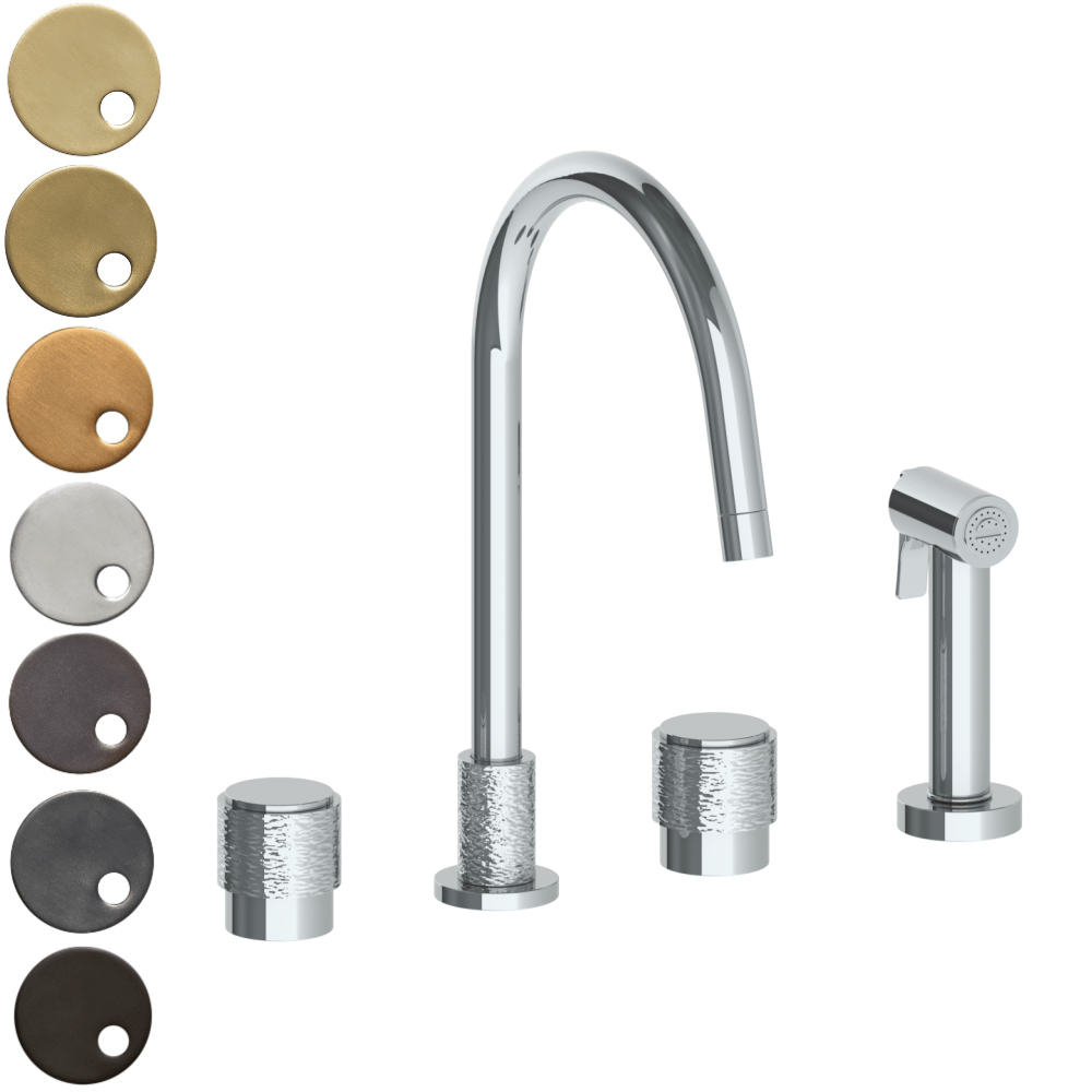 The Watermark Collection Sense 3 Hole Kitchen Set with Seperate Pull Out Rinse Spray - Dial Handle