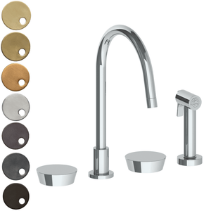 The Watermark Collection Zen 3 Hole Kitchen Set with Seperate Pull Out Rinse Spray