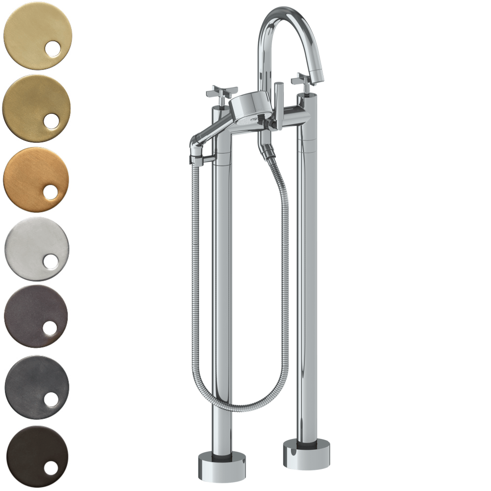 The Watermark Collection Highline Freestanding Bath Set with Volume Hand Shower - Cross Handle