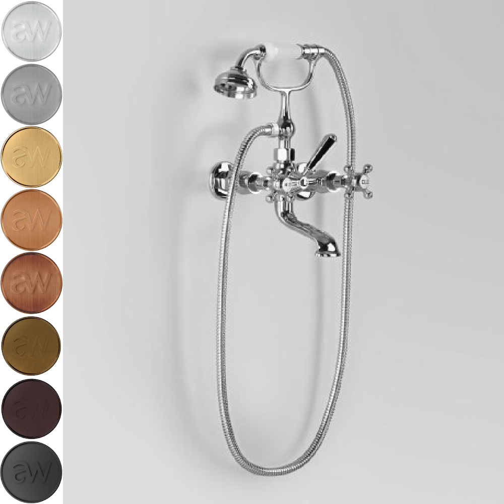 Astra Walker Classic Wall Mounted Bath Mixer with Single Function Hand Shower