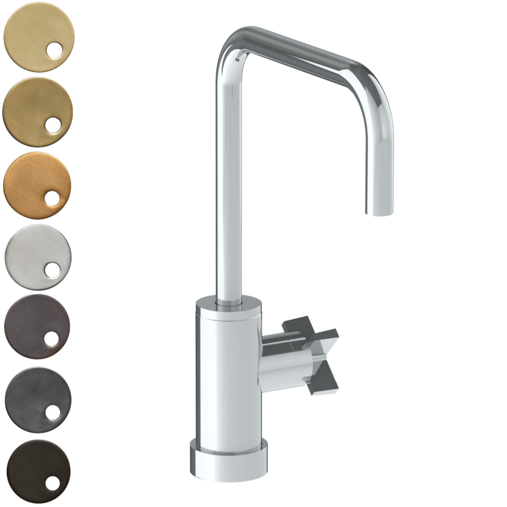 The Watermark Collection London Monoblock Kitchen Mixer with Square Spout - Cross Handle