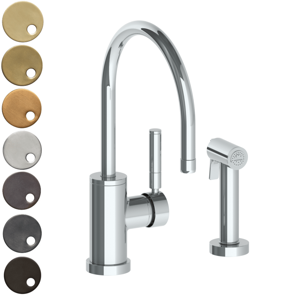 The Watermark Collection Loft Monoblock Kitchen Mixer with Seperate Pull Out Rinse Spray