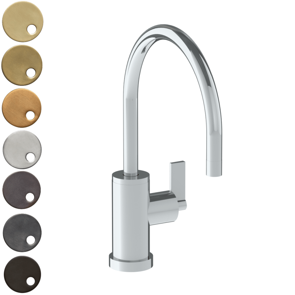 The Watermark Collection London Monoblock Kitchen Mixer with Swan Spout - Lever Handle