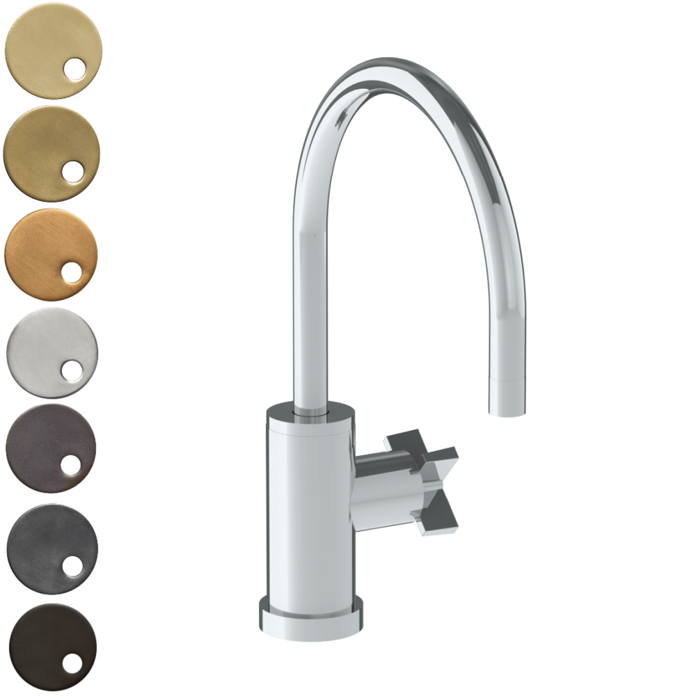 The Watermark Collection London Monoblock Kitchen Mixer with Swan Spout - Cross Handle