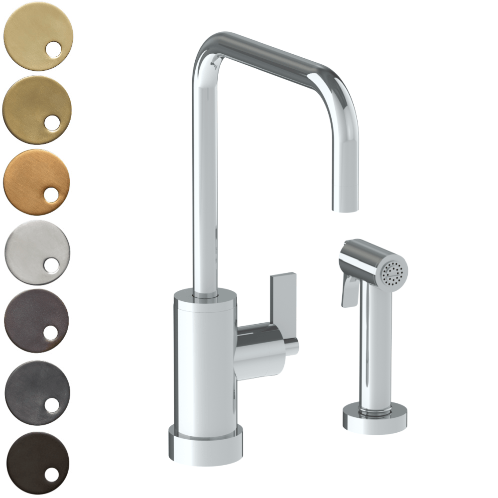 The Watermark Collection London Monoblock Kitchen Mixer with Square Spout & Seperate Pull Out Rinse Spray - Lever Handle