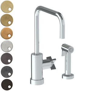 The Watermark Collection London Monoblock Kitchen Mixer with Square Spout & Seperate Pull Out Rinse Spray - Cross Handle