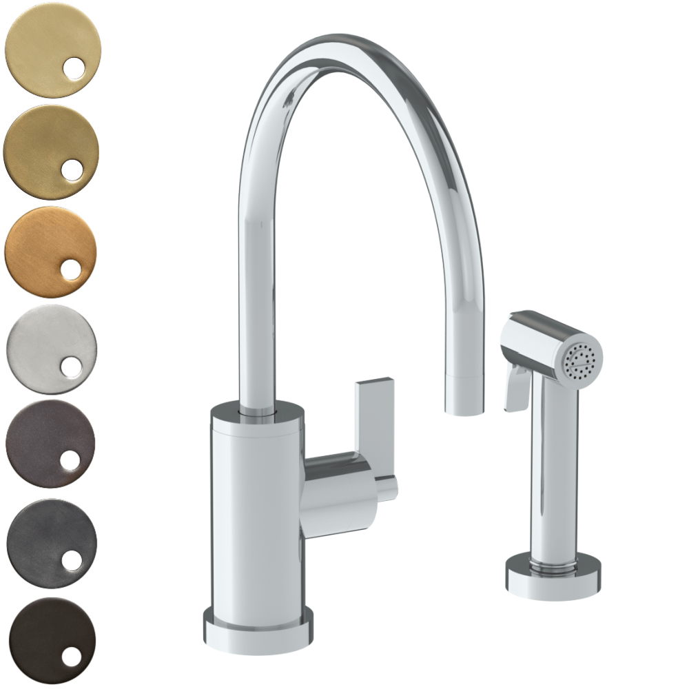 The Watermark Collection London Monoblock Kitchen Mixer with Swan Spout & Seperate Pull Out Rinse Spray - Lever Handle