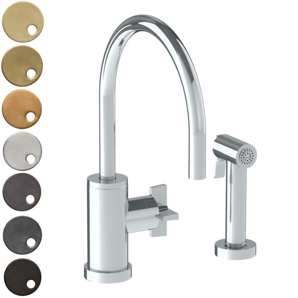 The Watermark Collection London Monoblock Kitchen Mixer with Swan Spout & Seperate Pull Out Rinse Spray - Cross Handle