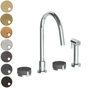 The Watermark Collection Elements 3 Hole Kitchen Set with Seperate Pull Out Rinse Spray - Scallop Insert