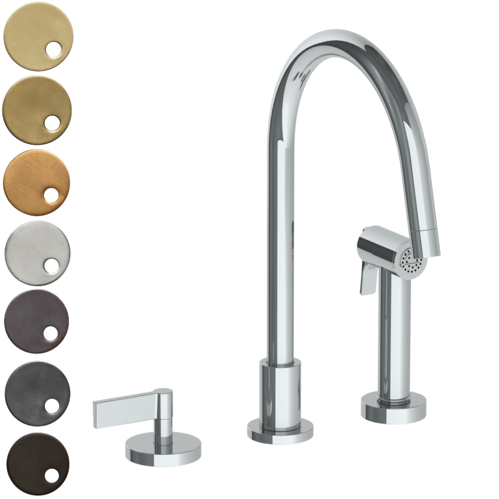 The Watermark Collection London 2 Hole Kitchen Set with Swan Spout & Seperate Pull Out Rinse Spray - Lever Handle
