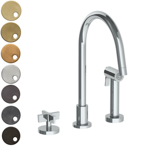 The Watermark Collection London 2 Hole Kitchen Set with Swan Spout & Seperate Pull Out Rinse Spray - Cross Handle