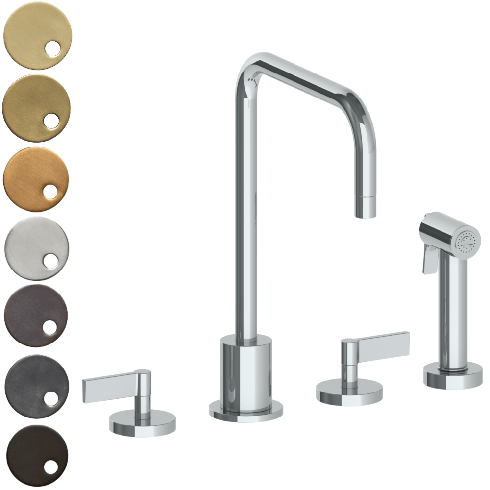 The Watermark Collection London 3 Hole Kitchen Set with Square Spout & Seperate Pull Out Rinse Spray - Lever Handle