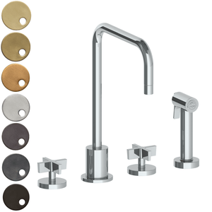 The Watermark Collection London 3 Hole Kitchen Set with Square Spout & Seperate Pull Out Rinse Spray - Cross Handle