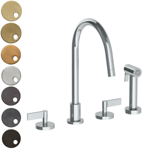 The Watermark Collection London 3 Hole Kitchen Set with Swan Spout & Seperate Pull Out Rinse Spray - Lever Handle