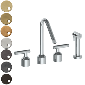 The Watermark Collection Urbane 3 Hole Kitchen Set with Angled Spout & Separate Pull Out Rinse Spray - Astor Handle