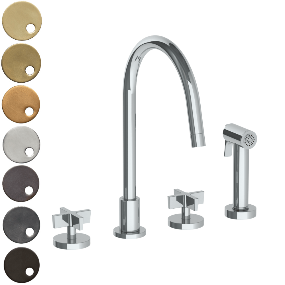 The Watermark Collection London 3 Hole Kitchen Set with Swan Spout & Seperate Pull Out Rinse Spray - Cross Handle