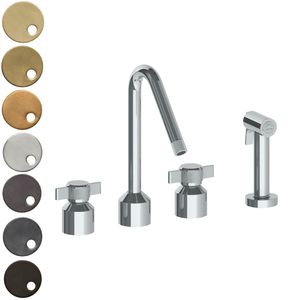The Watermark Collection Urbane 3 Hole Kitchen Set with Angled Spout & Separate Pull Out Rinse Spray - Cooper Handle