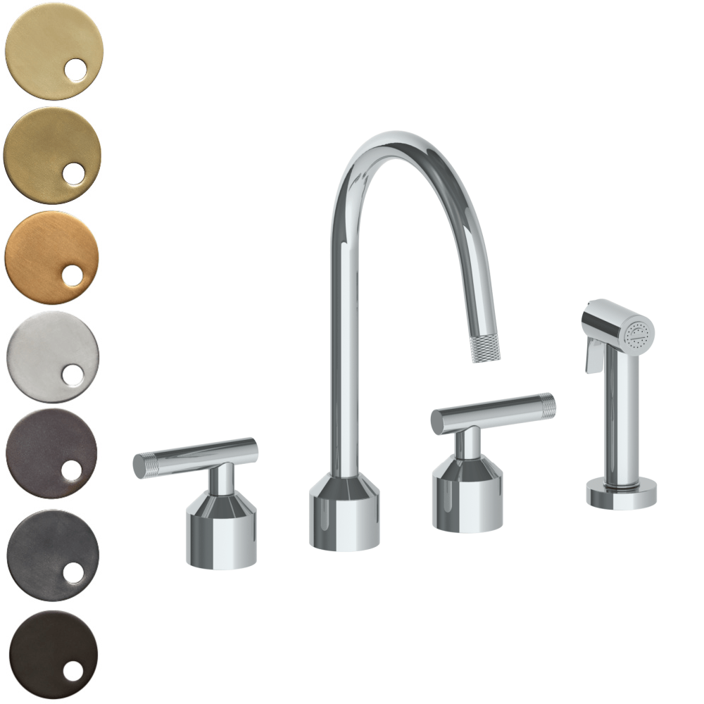 The Watermark Collection Urbane 3 Hole Kitchen Set with Swan Spout & Separate Pull Out Rinse Spray - Astor Handle
