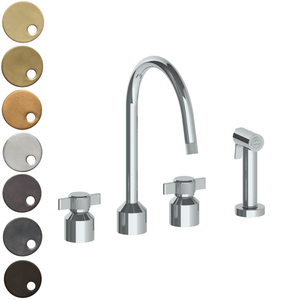 The Watermark Collection Urbane 3 Hole Kitchen Set with Swan Spout & Separate Pull Out Rinse Spray - Cooper Handle