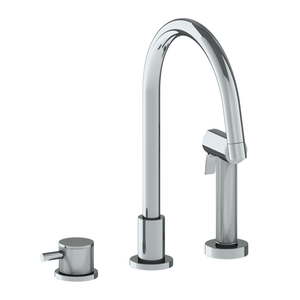 The Watermark Collection Titanium 2 Hole Kitchen Set with Seperate Pull Out Rinse Spray
