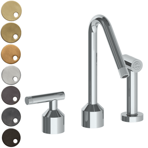 The Watermark Collection Urbane 2 Hole Kitchen Set with Angled Spout & Separate Pull Out Rinse Spray - Astor Handle