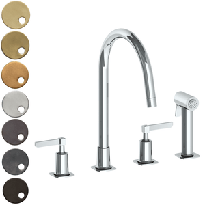 The Watermark Collection Highline 3 Hole Kitchen Set with Seperate Pull Out Rinse Spray - Lever Handle