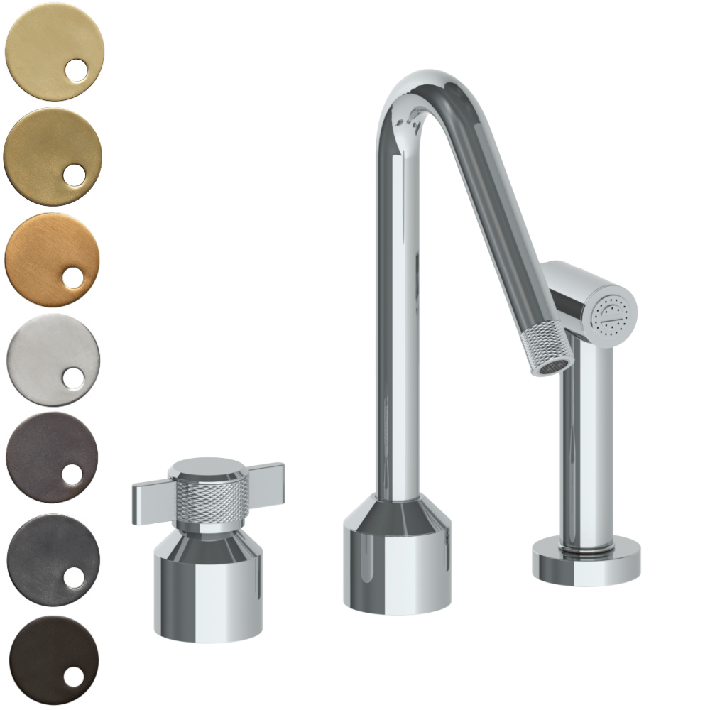 The Watermark Collection Urbane 2 Hole Kitchen Set with Angled Spout & Separate Pull Out Rinse Spray - Cooper Handle
