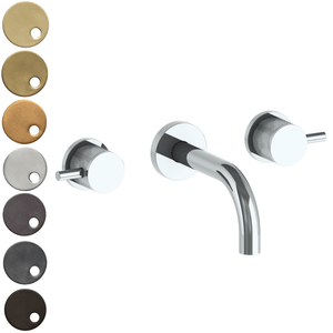 The Watermark Collection Titanium Wall Mounted 3 Hole Basin Set with 142mm Spout