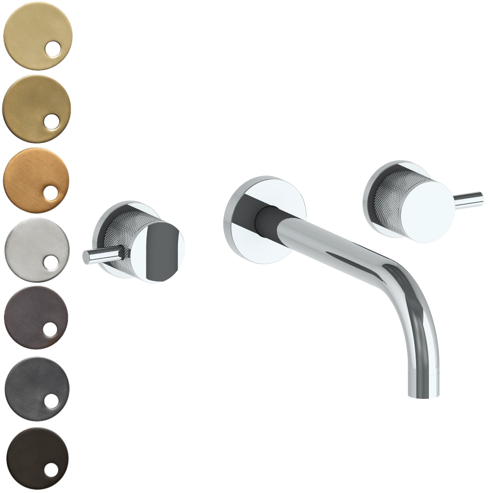 The Watermark Collection Titanium Wall Mounted 3 Hole Basin Set with 212mm Spout