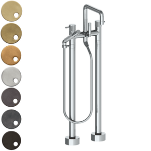 The Watermark Collection Titanium Freestanding Bath Set with Slimline Hand Shower & Square Spout