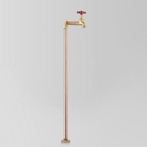 Astra Walker Eden Floor Mounted Pillar Tap | Red Handle