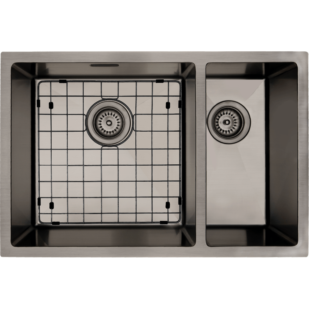 Mercer Aurora Series Sink 400 x 400mm + 200 x 400mm - Gun Metal