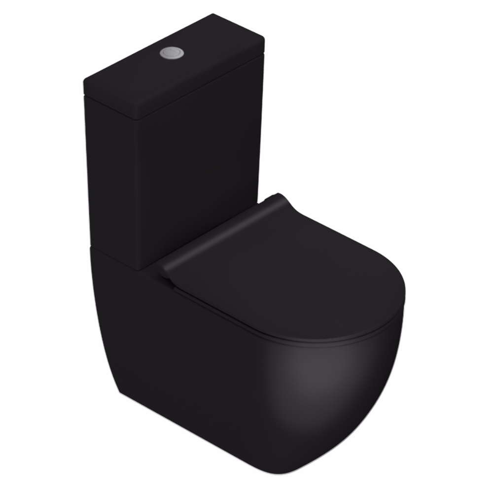 Sfera 63 Rimless Back To Wall Toilet Suite Matt Black
