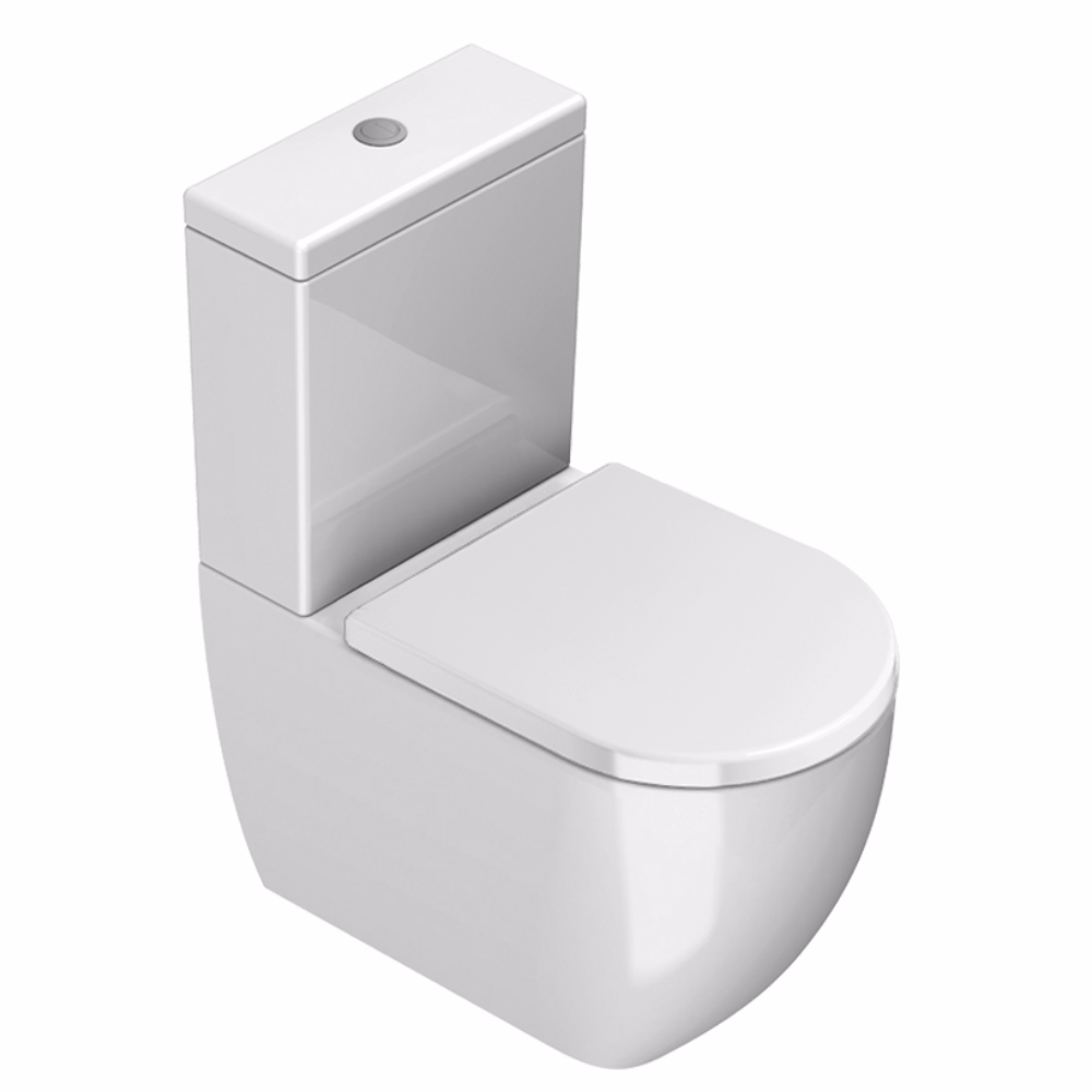 Catalano Sfera 63 Rimless Back To Wall Toilet Suite with Thick Seat | Gloss White