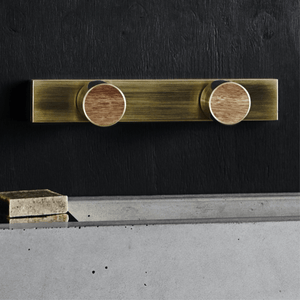 Wood Melbourne Leo Round Brass & Timber Taps with One-Piece Backplate