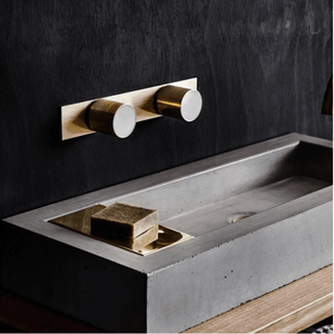 Wood Melbourne Mabel Round Marble and Brass Taps with One-Piece Backplate