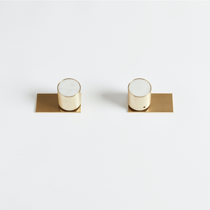 Wood Melbourne Mabel Round Marble and Brass Taps with Two-Piece Backplate