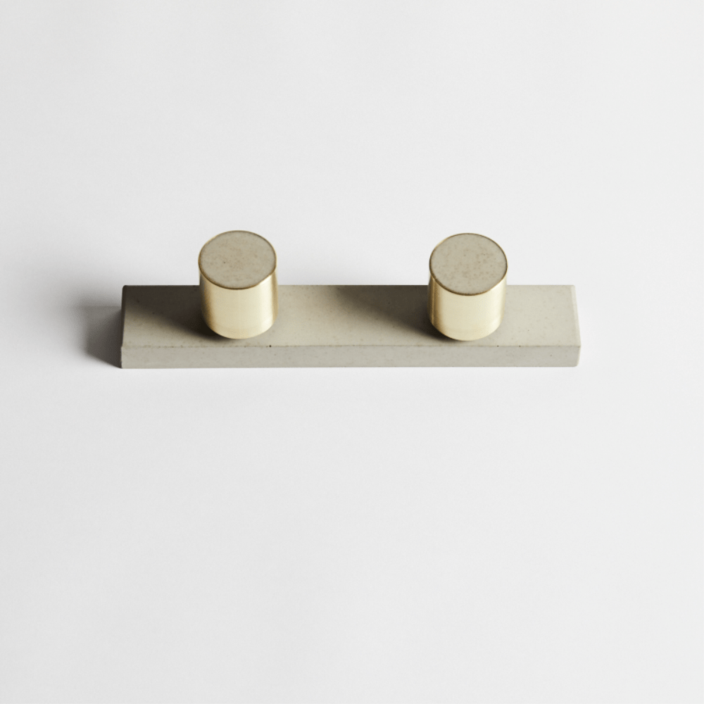 Wood Melbourne Olympia Round Concrete and Brass Taps with One-Piece Backplate