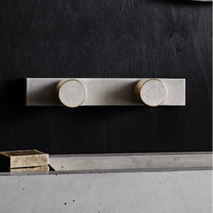 Wood Melbourne Olympia Round Concrete & Brass Taps with One-Piece Backplate