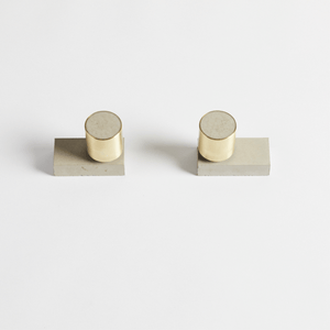 Wood Melbourne Olympia Round Concrete & Brass Taps with Two-Piece Backplate