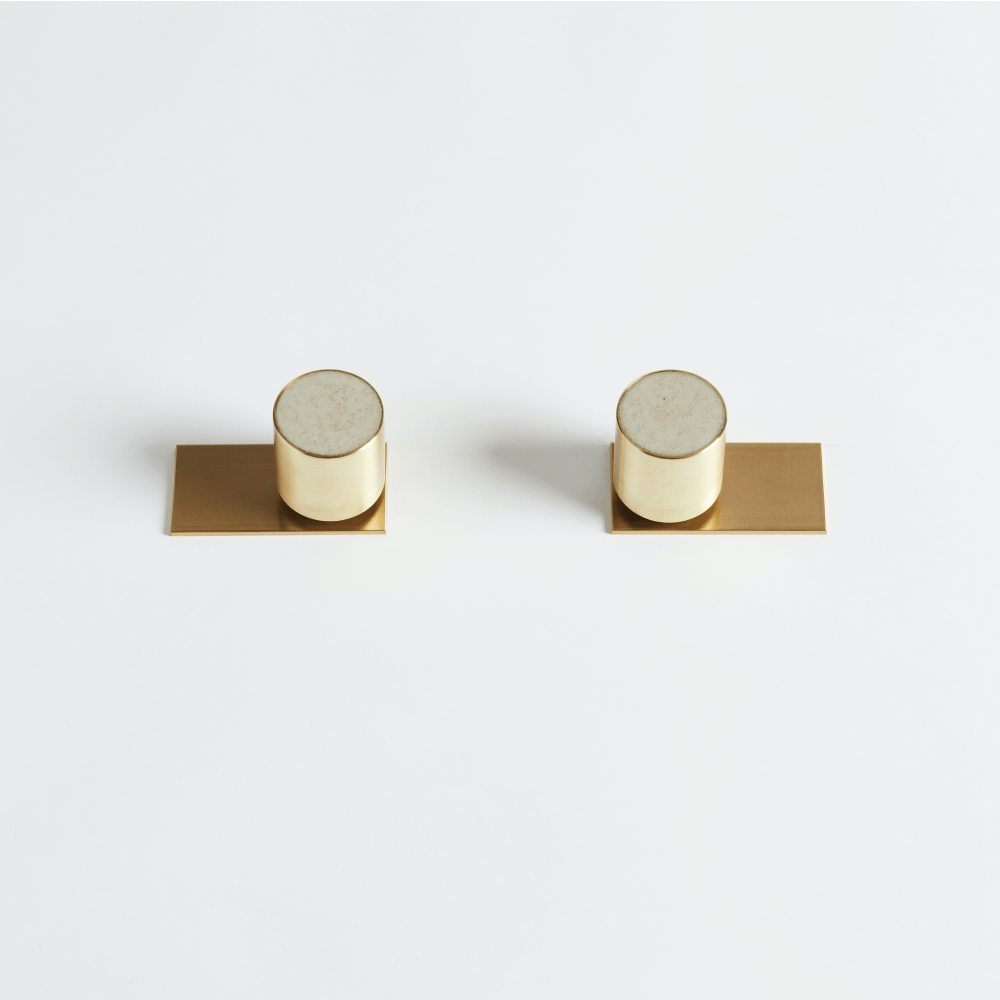 Wood Melbourne Olympia Round Concrete and Brass Taps with Two-Piece Backplate