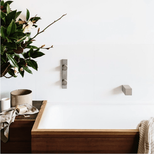 Wood Melbourne Avaa Round Concrete Taps with One-Piece Backplate