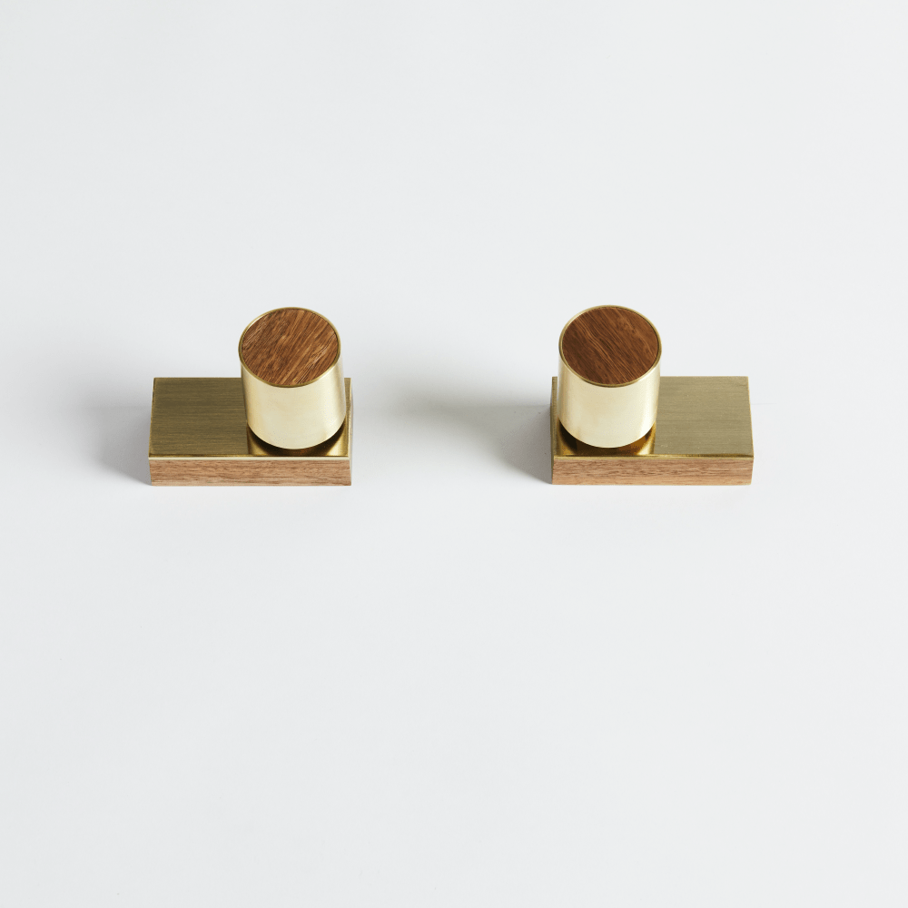 Wood Melbourne Leo Round Brass and Timber Taps with Two-Piece Backplate