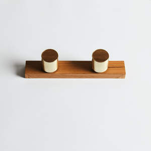 Wood Melbourne Leo Round Brass and Timber Taps with One-Piece Backplate