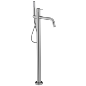Oli Floor Mount Bath Filler & Hand Shower with Linear Handle | 316 Stainless Steel
