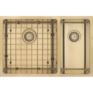 Mercer Aurora Double Sink | 400 + 200mm | Brass