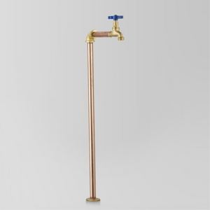 Astra Walker Eden Floor Mounted Pillar Tap | Blue Handle