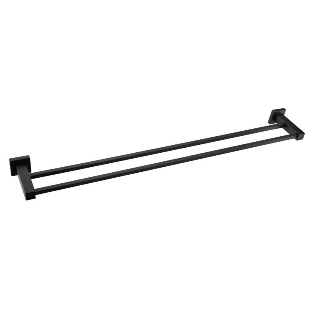 Meir Square Double Towel Rail 600mm - Black