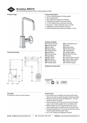 The Watermark Collection Brooklyn Monoblock Kitchen Mixer