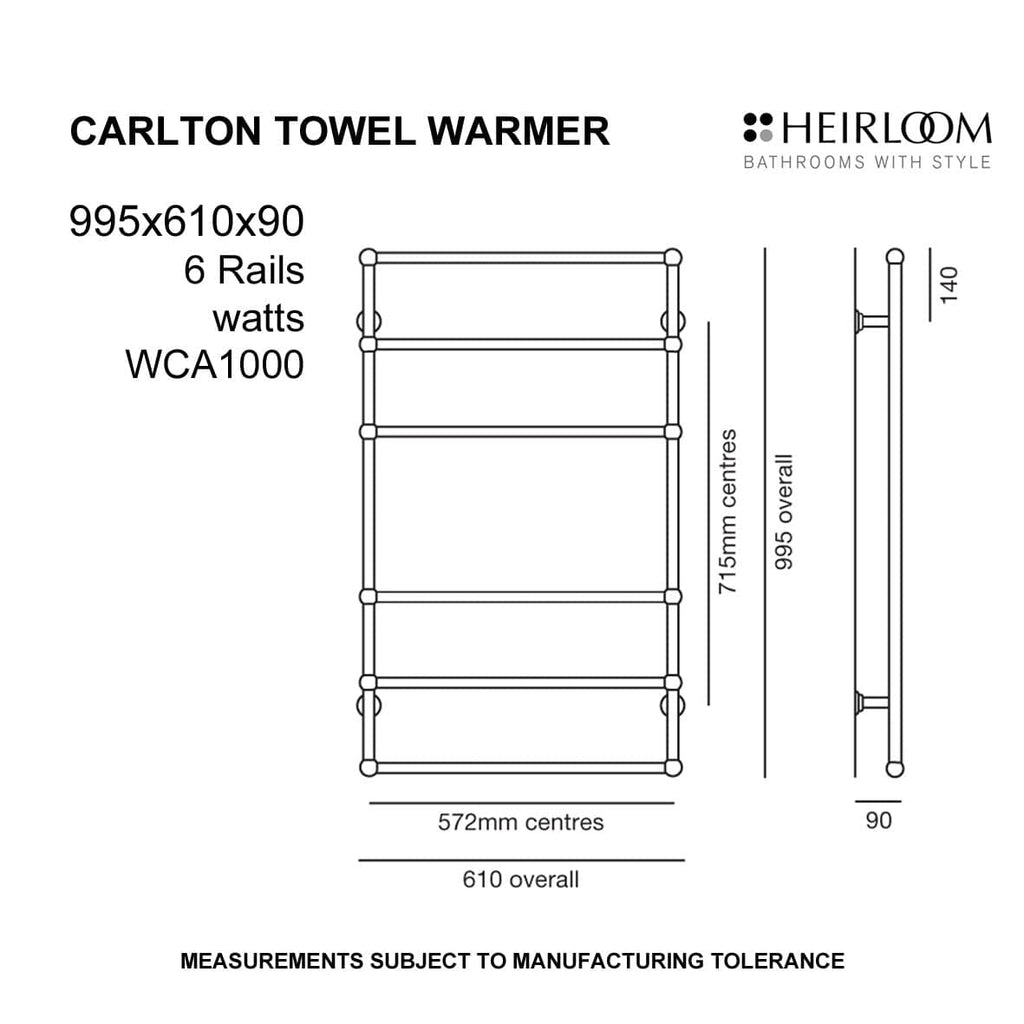 Carlton Heated Towel Rail - 995 x 610mm - Heirloom